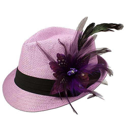 Alpenflüstern Damen Strohhut Trachtenhut rosa mit Feder-Clip ADV03100070 lila