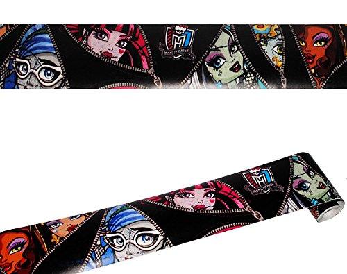 Unbekannt Wandbordüre - selbstklebend -  Monster High  - 5 m - Wandsticker / Wandtattoo - Bordüre Aufkleber Kinderzimmer - für Kinder Mädchen - Frankie Stein - Clawde..