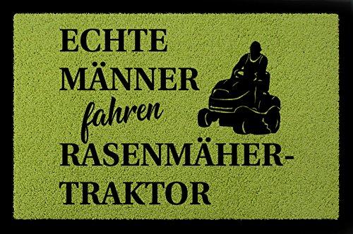 Interluxe FUSSMATTE Türvorleger ECHTE MÄNNER Fahren RASENMÄHERTRAKTOR Freizeit Mann Flur Grün