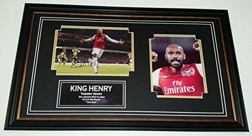Hand signierte Autogramm, gerahmt, Thierry Henry von Arsenal, vs, Leeds Utd., Bälle oder Hochzeiten