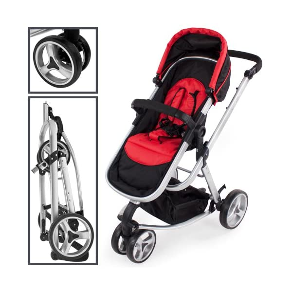 TecTake 3 in 1 Pushchair stroller combi stroller buggy baby jogger travel buggy kid's stroller -different colours- (Red/Black)  Aluminium frame | mosquito net Collapsible to a compact size for space-saving transport 5-point safety harness, Safety bar 3