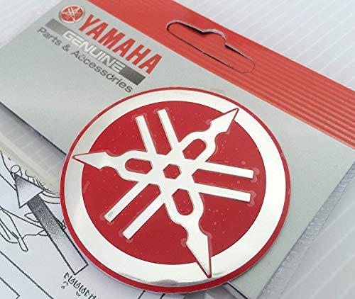 100% GENUINE 55mm Durchmesser YAMAHA STIMMGABEL Aufkleber Sticker Emblem Logo ROT / SILBER Erhöht Gewölbt Metalllegierung Bau Selbstklebend Motorrad / Jet Ski / ATV / Schneemobil -