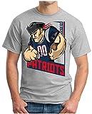 OM3® - New England 00 - T-Shirt | Herren | American Football Shirt | L, Grau Meliert