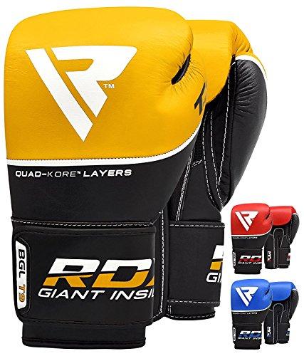 RDX Boxhandschuhe (Sparring, Rindsleder, Training, Gelb, 14 oz)