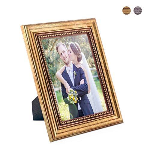 PHOTOLINI Bilderrahmen 13x18 cm Gold Barock Antik Massivholz mit Glasscheibe und Zubehör/Fotorahmen/Barock-Rahmen