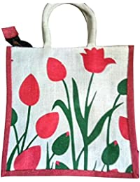 Pooja Bags Jute Carry Bag Pink Gulab Printed Set Of 2 PCs (Size: 12*12*6 Inches)