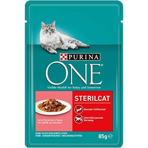 Purina ONE Katzennassfutter, hochwertige Katzennahrung, reich an Vitaminen und Mineralstoffen, 24er Pack (24 x 85 g Beutel) -