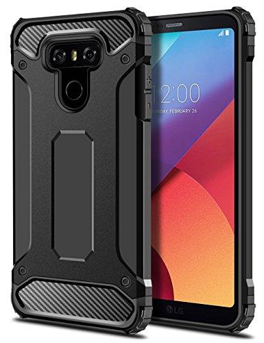 LG G6 Hülle, Coolden® Premium [Armor Serie] Outdoor Stoßfest Handyhülle Silikon TPU + PC Bumper Cover Doppelschichter Schutz Hülle für LG G6(Schwarz)