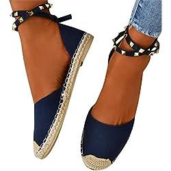 Minetom Calzado Chancletas Tacones Zapatos Planos Sandalias de Verano para Mujer Cuña con Cordones Alpargatas Fiesta Zapatos A Azul EU 41