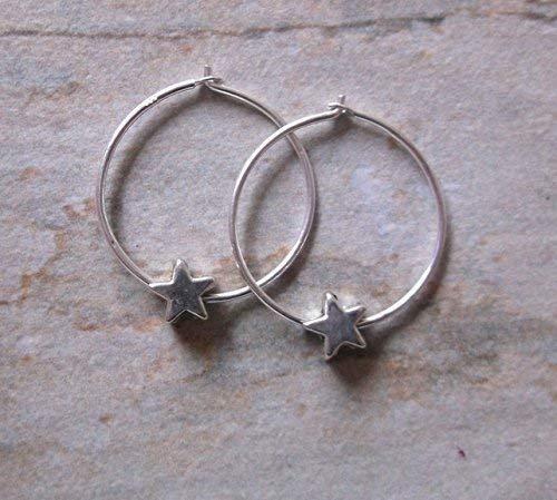 SALE. Sterling Silver Star Hoop Earrings