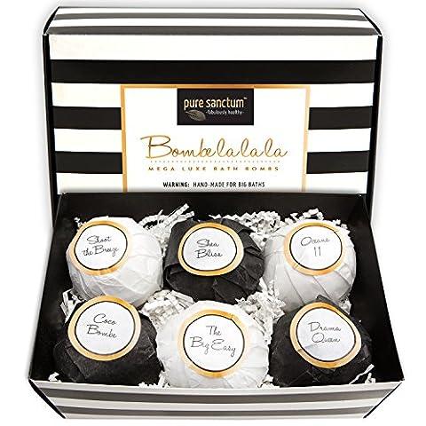 Badebomben Set Deluxe Geschenkset mit 6 Ultra Größe Badebombe 175g Natürliche Badekugeln - Bombe la la la