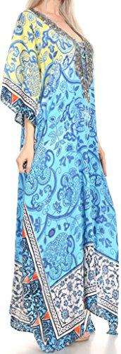 Sakkas Georgettina Flowy Strass V-Ausschnitt, langen Kaftan Kleid / Vertuschung Gelb Blau