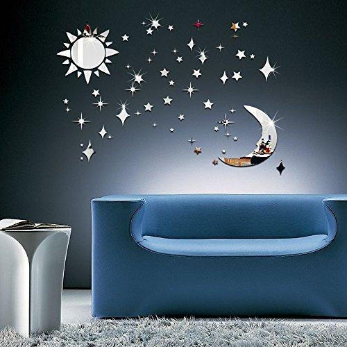 3D Wandsticker Sonne, Mond und Sterne: Stricknadel Spiegel Effekt Wand Aufkleber Decals für Kinder room-silver