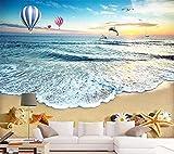 YUANLINGWEI Wandbild Tapete 3D Benutzerdefinierte Foto Moderne Wandbild Meer Strand Heißluft Ballon Schalen Delphin Tier Muster Dekorativ Für Tv Hintergrund Wohnzimmer,270Cm (H) X 350Cm (W)