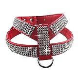 Eizur Hundegeschirr, verstellbar, aus PU-Kunststoff, mit Strass, gute Passform und langlebig, erhältlich in 4Farben: Schwarz / Blau / Rot / Rosa