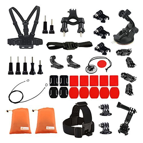 kitway accessori Kit per GoPro Hero 4 Session, Hero 1, 2, 3, 3 +, 4, Sj4000, 5000, 6000, 7000, Xiaomi Yi (44 - 1)
