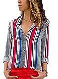 FIYOTE Damen Elegant Business Chiffonbluse Schluppenshirt T-Shirt mit Schleife V-Ausschnitt Einfarbig Tops Rot XXL