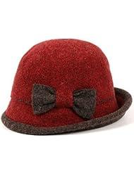 Sombrero de lana de lana Sombrero femenino del pescador del otoño y del invierno Casquillo del lavabo Guarde el sombrero caliente de las lanas Boinas ( Color : Rojo )