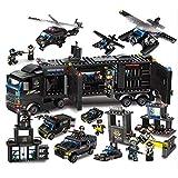 City Special Forces Mobile Command Center Costruzione Toy, City Station Building Sets, Blocco di legno, 8 Person Dolls, Patrol Car, Macchina detenuta, Heavy Armored Vehicle, Elicottero da ricognizione