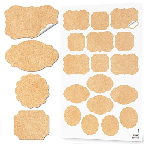 4 x 17 Stück Aufkleber natur beige braun Weihnachten vintage Nostalgie Haushalt-Etiketten Gewürzaufkleber blanko beschreiben Küche Gewürzetiketten Geschenkaufkleber