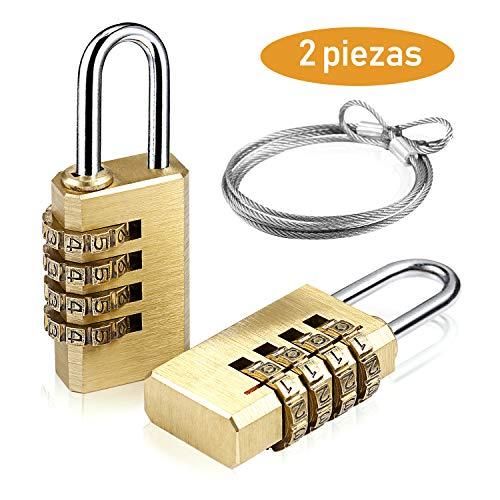Candado de la Combinación de Seguridad, UZOPI 4 Digitos de Combinacion,Latón Materior Anti óxido,para...