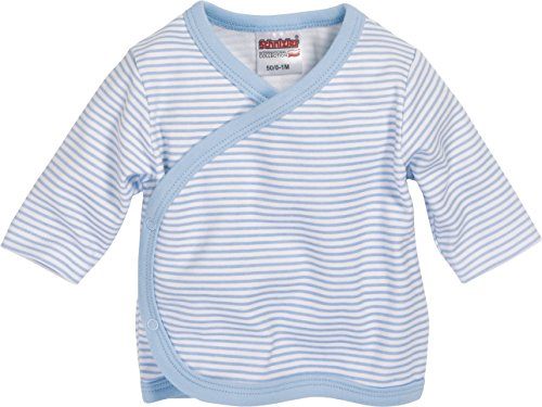 Schnizler Unisex Baby Hemd Wickelshirt, Flügelhemd, Erstlingshemd Langarm Ringel, Oeko Tex Standard 100, Gr. 56, Blau (weiß/bleu 117)