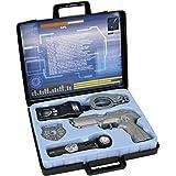 Unbekannt Polizei Ausrüstung im Koffer mit Pistole, Handschellen und Marke, 28x25cm: Spielzeug Spiel Set Marke Walkie Talkie