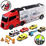 deAO Transporter Truck Carrycase for Cars Play Set Carrier Including a Total of 6 Assorted Vehicles, Accessories and Play Map
