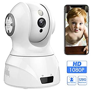 1080p 2.4GHz HD Face Detection Wireless Indoor WiFi Home Security Camera with Sound/Motion Detection,Two Way Audio,Night Vision Control for Baby Elder Pet, Support Android IOS Windows Mac