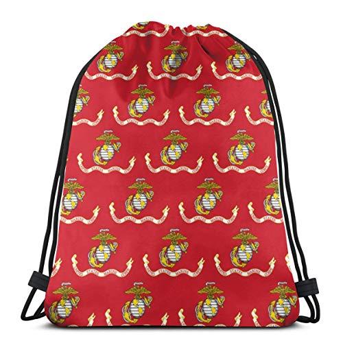 US Marine Corps Flag - 1 Zoll_1000 Kordelzug Rucksack Umhängetaschen Leichte Sporttasche zum Wandern Yoga Gym Schwimmen Travel Beach -