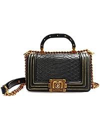 53fad334a6f09c Fashion Schwarze Tasche mit Ketten Designer Leder Handtasche Kleine Damen  Geldbörsen und Handtaschen Umhängetasche