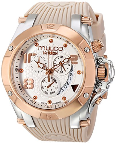 MULCO Unisex MW5-2029-113 Rose Gold-Tone Watch with Beige Rubber Band