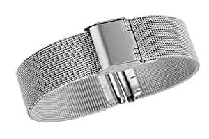 20mm Classic Luxury Milanese Loop Solid Stainless Steel Watch Bands with Adjustable Safety Clasp