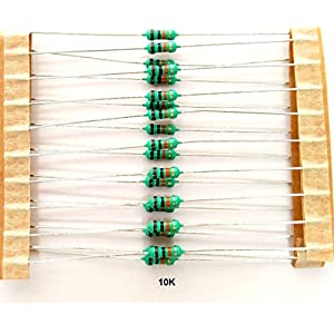 Electrobot 10k Ohm Carbon Film Resistors, 0.25 Watt, Tolerance 5%, 100 Piece