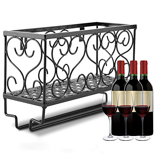 EBTOOLS Weinregale, Wandhalterung aus Metall Weinregal Flaschenregal Glashalter mit Weinglasregal, Anzug für Home Party Bar verwenden (Schwarz, 25 x 17 x 10 cm)