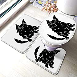 3 Stück Badezimmer Anti-Rutsch-Pads türkische Angora-Symbol im schwarzen Stil weiße Katze Rassen Symbol Lager Memory Foam Mat Set