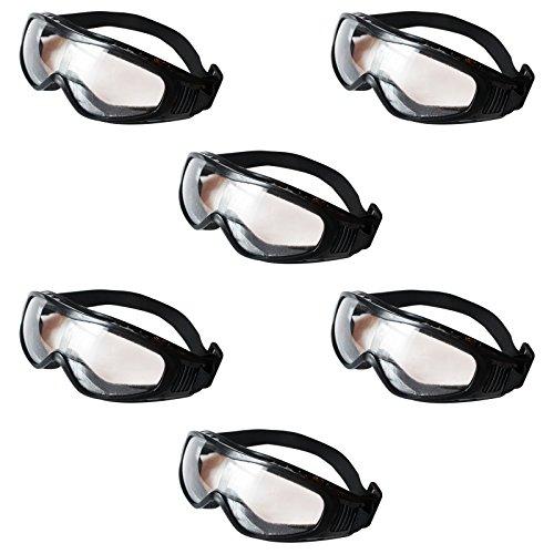 Pack 6 Gafas Negras de Seguridad Protectoras Lentes Transparentes por Kurtzy - Set de Gafas Protectoras para Usar en Laboratorio de Química, Construcciones y Más - Acolchadas para su Comodidad