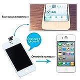 SKILIWAHVITRE TACTILE POUR IPHONE 4S + ECRAN LCD SUR CHASSIS NOIRE REMPLACEMENT NEUF BLANC