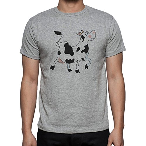 Bull Cow Animals Farm Happy Walking Herren T-Shirt Grau