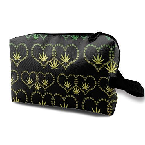 Heart Marijuana Pot Leaf Weed Rasta Toiletry Bag Womens Travel Cosmetic Bags Lightweight Waterproof Case -