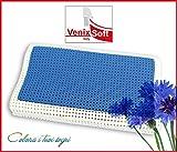 Kissen Kopfkissen venixsoft blau aus Memory Foam wärmeausgleichende Anatomisches Nackenkissen 70cm x 40cm x 10/12cm mit Mikrolochung für mehr Atmungsaktivität, Bezug aus Baumwolle abnehmbar und waschbar in Waschmaschine, Made in Italy