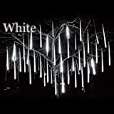 LED Meteor Shower Rain Lights Falling Rain Drop String Lights Waterproof Icicle Snow Fall Lighting with 30cm 8 Tube 144 Leds for Holiday Xmas Tree Valentine Wedding Party Decoration (White, UK Plug)