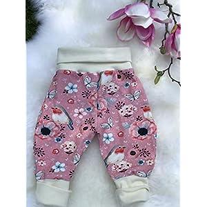 Baby Pumphose Schlupfhose newborn Gr. 56-68 Vögel Rotkehlchen rosa