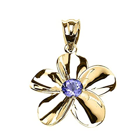 10 ct Yellow Gold Hawaiian Plumeria Tanzanite Pendant Necklace (Comes With an 18