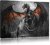 Drache schützend über Burg Schwarz/Weiß, Format: 120x80 auf Leinwand, XXL riesige Bilder fertig gerahmt mit Keilrahmen, Kunstdruck auf Wandbild mit Rahmen, günstiger als Gemälde oder Ölbild, kein Poster oder Plakat