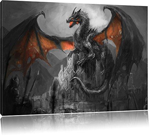 dragon-protecteur-sur-le-chateau-noir-blanc-taille-60x40-sur-toile-xxl-enormes-photos-completement-e