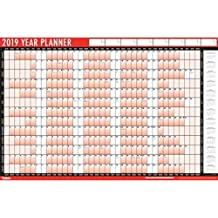 2019 A1 Laminated Yearly Wall Planner Calendar With Sticker Dots & Wipe Dry Pen
