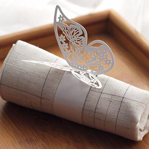 50X Serviettenringe Schmetterlingringe Papierservietten Ringe für Partys Feste Hochzeiten Deko Tischdekoration für Hochzeit Taufe Geburtstag Party