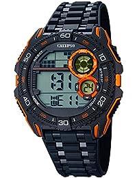 Calypso Herrenarmbanduhr Quarzuhr Kunststoffuhr mit Polyurethanband schwarz/orange digital K5670/6