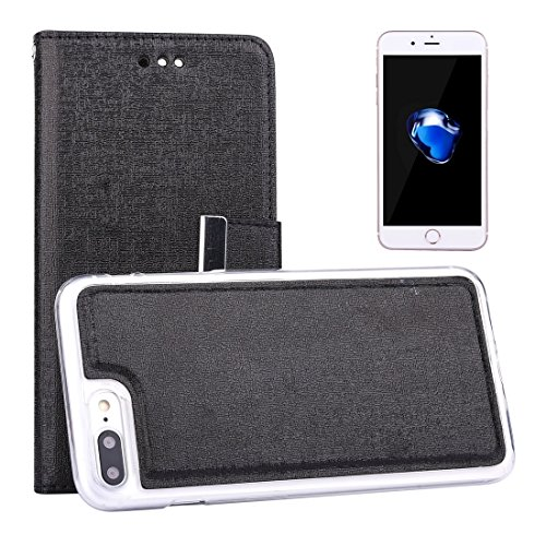 IPhone 7 Plus Fall Oracle Texture Separable Horizontale Flip Leder Tasche mit Card Slots & Wallet & Foto Frame & Lanyard für iPhone 7 Plus by diebelleu ( Color : White ) Black